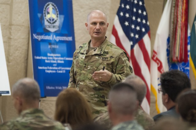 Maj. Gen. Edward Daly, commanding general, U.S. Army Sustainment Command, speaks about his priorities and the state of the command during a town hall meeting in Heritage Hall, Rock Island Arsenal, Illinois, Nov. 2.