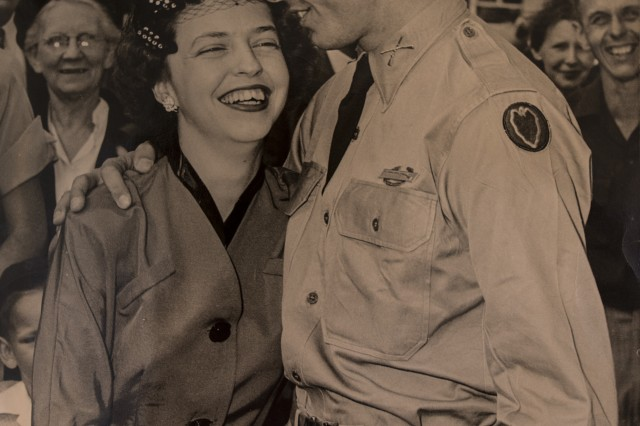 U.S. Army 1st Lt. William H. Funchess and his wife, Sybil, reunite in Columbia, S.C. for the first time in three years after he was released from a Korean prisoner of war camp.  (Photo courtesy of William Funchess)