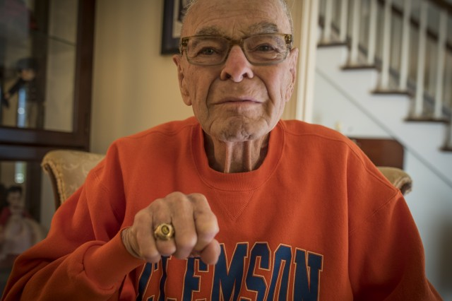 Former U.S. Army 1st Lt. William H. Funchess, 89, who endured 34 months as a prisoner of war during the Korean War, displays his Clemson University Class of 1948 ring at his home in Clemson, S.C., Sept. 21, 2016. Funchess was held in the same prison compound and became very close to Army Chaplain Father Emil J. Kapaun, who received the Medal of Honor posthumously in 2013 for his acts of courage and compassion as a prisoner of war.  (U.S. Army photo by Staff Sgt. Ken Scar)