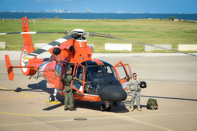 CCAD Commander Col. Allan Lanceta paid a neighborly visit to the US Coast Guard Sector Corpus Christi where he met with command leaders and flew in a MH-65 Dolphin.