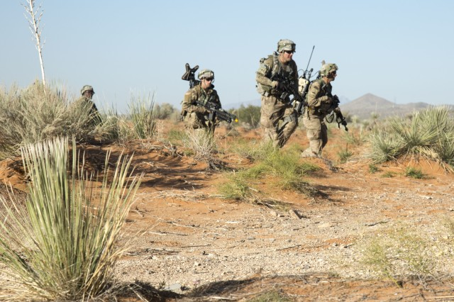 U.S. Army Infantrymen, assigned to B Company, 1st Battalion, 6th Infantry Regiment, 2nd Brigade Combat Team, 1st Armored Division, assault an objective during the Army Warfighting Assessment (AWA) 17.1 at Fort Bliss, Texas, Oct. 23, 2016. In addition to introducing cyber operations into training exercises like the AWA, the Department of Defense is working to build a robust virtual cyber training capability known as the Persistent Cyber Training Environment.