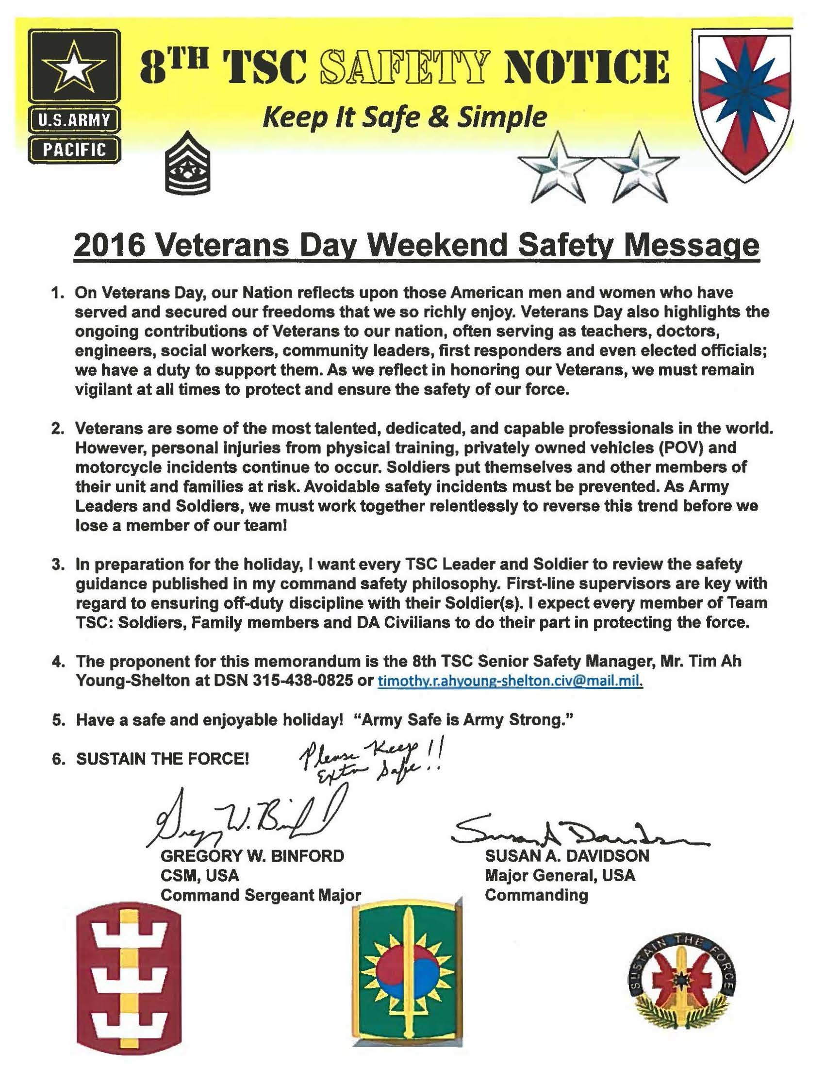 2016 Veterans Day Weekend Safety Message | Article | The ...
