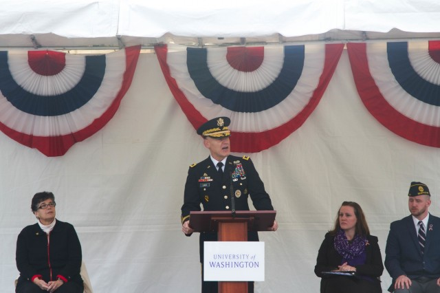 Lt. Gen. Steve Lanza, I Corps commanding general, gives the keynote address at the University of Washington Veterans Day Ceremony and Reception, Nov. 11. (U.S. Army Photo by Staff Sgt. Bryan Dominique)