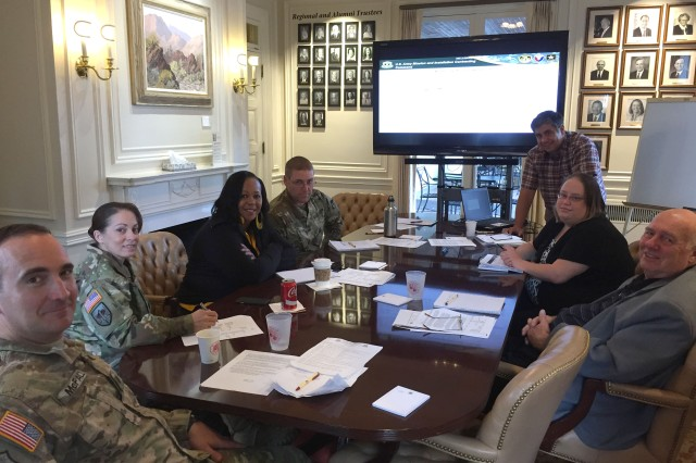 Participating in the contracting commander's offsite in Colorado Springs, Colorado, were, from left, Lt. Col. Thomas McFall, Sgt. Maj. Sol Nevarezberrios, Dorothy Bell, Master Sgt. Lucas Tighe, Rod Cameron, Sarah Mehlenbeck and Jim Ruby.