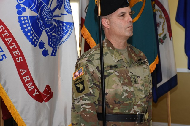 Master Sgt. Russell Kruz holds a Model 1840 U.S. Army noncommissioned officer's sword during the Nov. 15, 2016 Change of Responsibility ceremony at Dugway Proving Ground, Utah. The sword played a crucial and symbolic role in the transferring of responsibilities from the outgoing command sergeant major to a new command sergeant major. Photo by Al Vogel / Dugway Public Affairs