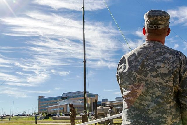 Soldiers with the Fort Hood-based 504th Military Intelligence Brigade set up a communications antenna during the Exercise Ready Phantom training at Fort Hood.