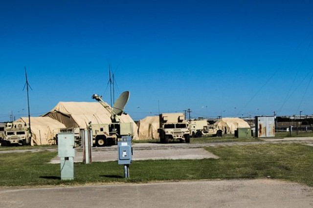 The brigade Tactical Operations Center is designed to receive and disseminate information from higher headquarters and subordinate units. Here, the 504th MI Brigade's TOC is set up at a training site on Fort Hood, Texas.