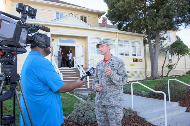 The Defense Language Institute Foreign Language Center Assistant Commandant, Col. Keith Logeman, gives an interview for KSBW news following 75th anniversary events Nov. 4. (U.S. Army photo by Amber K. Whittington/Released)