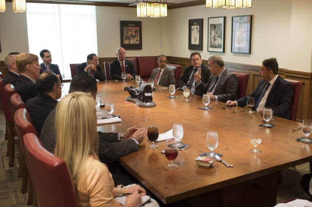 The Azerbaijani Ambassador to the United States, Elin Suleymanov, speaks to faculty and staff from the University of Oklahoma during a luncheon at the University's Student Union.