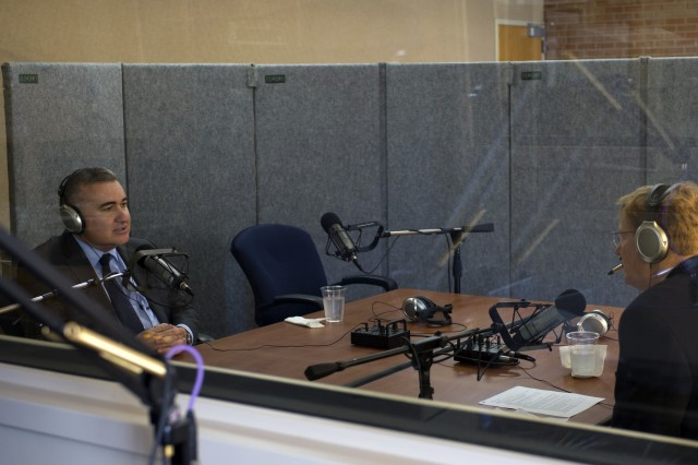 The Azerbaijani Ambassador to the United States, Elin Suleymanov, participates in a radio interview with Joshua Landis, Director of Middle East Studies and Professor of International Studies at the University of Oklahoma.