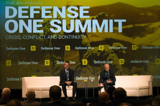 Army Secretary Eric Fanning, left, discusses administrative transition and focuses for the future with Wall Street Journal reporter Gordon Lubold at the Defense One Summit in Washington, D.C., Nov. 17, 2016.