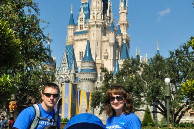 The Henningsen family stands in front of the Cinderella Castle at Walt Disney World in Orlando, Florida, during a trip provided by the Make-A-Wish Foundation, November, 2012.