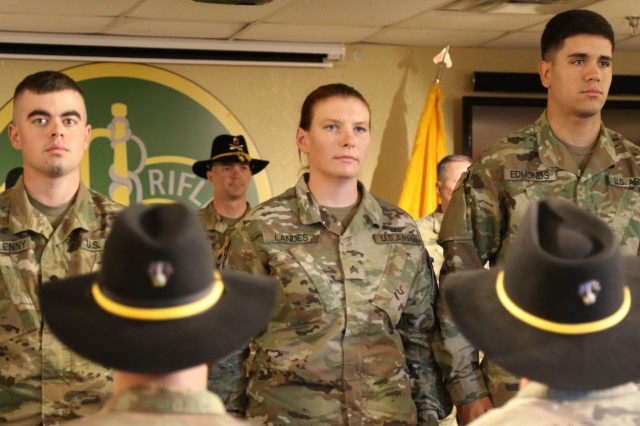 The first female Cavalry Scout completed her reclassification training Nov. 17 at Fort Hood and is now assigned to the 1st Cavalry Division's 1st Armored Brigade Combat Team. Sgt. Kayci Landes was the first female Soldier to re-enlist for the 19D MOS in May of this year. She was previously a 15R, an AH-64 Attack Helicopter Repairer.