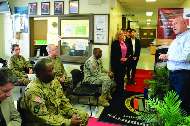 "Dr. Daniel Pinkston, a professor with Troy University addresses those gathered for the opening ceremony of American Education Week at U.S. Army Garrison Humphreys on Monday, Nov. 14. Pinkston's later gave a free lecture on ""North Korea under Kim, Jung Un."""