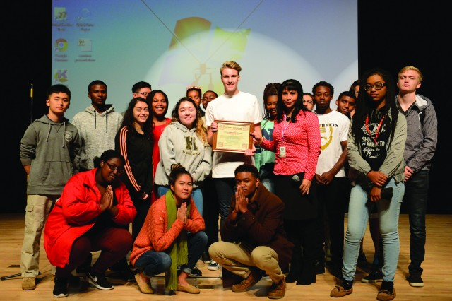 The senior class from Humphreys High School receive their winning certificate from Yeritza Nocera the Humphreys Army Substance Abuse Prevention Coordinator. The certificates were presented in the high school auditorium on Tuesday, Nov. 8.