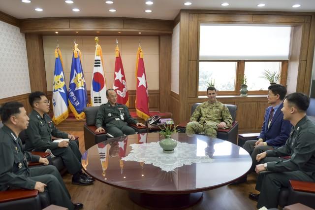 (From Left)Col. Jung, Han-Ki, 1st Lt. Oh, Hae-Young, Brig. Gen. Lee, Eu-Seong, Col. Ted Stephens, Mr. Chong, Yong-Kon, Maj. Jeong,-Yi-Hun converse during Stephens' visit to the Korea Army Academy at Yeongcheon.