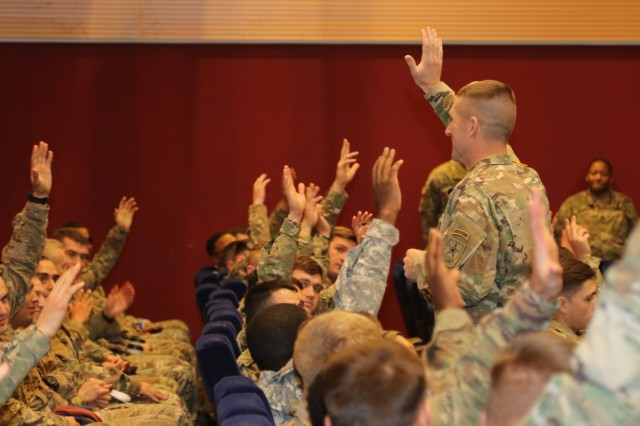 U.S. Army's most senior enlisted leader, Sgt. Maj. of the Army Daniel Dailey, discusses his initiatives with Soldiers of the tenant units located in the Vicenza, Italy area, Nov. 17, 2016 at the post theater on Caserma Ederle. Dailey's initiatives included: Noncommissioned Officer Professional Development Schools, talent management, stewardship of the profession, and the American's perception of the Army in comparison to other services. Dailey opened the room for questions at the conclusion of his presentation. (U.S. Army Africa photo by: Staff Sgt. Lance Pounds)