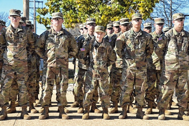 Michael Kelsey stands in formation with Company C, 3rd Battalion, 10th Infantry Regiment, during his visit to Fort Leonard Wood.