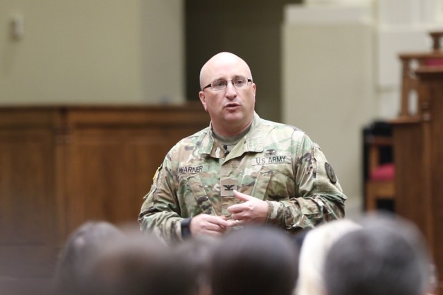 Fort Stewart U.S. Army MEDDAC, Commander Col. Christopher Warner talks to the participants at this year's Marne Health Summit about the ever changing and evolving face of Military Behavioral Health.