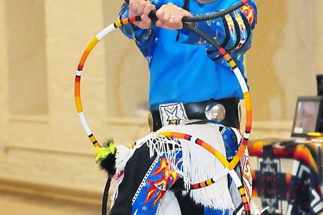 Ronnie Preston performs the hoop dance during the National American Indian Heritage Month observance Nov. 21 in Heritage Hall at Rock Island Arsenal, Illinois. Preston, who resides in Milwaukee, is a member of the San Carlos Apache Nation, Arizona. (Photo by Jon Micheal Connor, ASC Public Affairs)