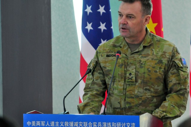 Maj. Gen. Gregory Bilton, the deputy commanding general of U.S. Army Pacific, speaks during the opening ceremony of the U.S.-China Disaster Management Exchange November 16 in Kunming, China. The annual United States Army Pacific (USARPAC) Security Cooperation event with the People's Liberation Army (PLA) is an opportunity to share Humanitarian Assistance/Disaster Relief lessons learned from real world events and enhance U.S. and Chinese disaster management capabilities.