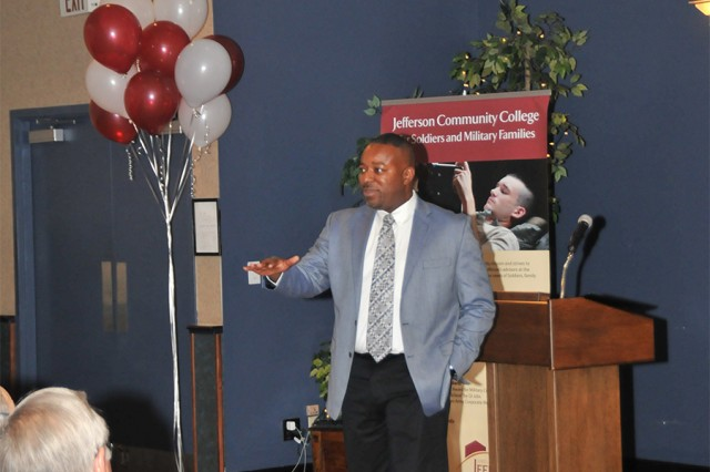 Edward Smalls, a former 10th Mountain Division (LI) Soldier and current faculty member at Jefferson Community College, speaks to the audience about how the partnership between Fort Drum and JCC supported his professional development. An anniversary celebration was held Thursday at the Commons to recognize the 30-year partnership.