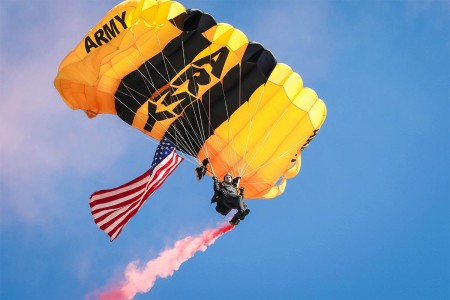 A member of the Army's Golden Knights demonstration team descends with the American flag, during a jump into a military family organizational day hosted by the 82nd Combat Aviation Brigade, Fort Bragg, N.C., Nov. 22, 2016.