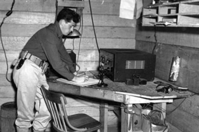 U.S. Army Pvt. Joe Lockard mans a radar station. Army photo