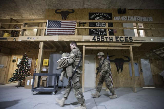 Force protection sentries from the 455th Expeditionary Civil Engineer Squadron head out to work on Thanksgiving, Nov. 24, 2016 at Bagram Airfield, Afghanistan. While many squadrons allowed their members to celebrate Thanksgiving while deployed, the mission did not stop.