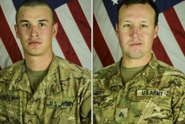 Pfc. Tyler R. Iubelt, 20 (left), Sgt. John Perry, 30 (right).