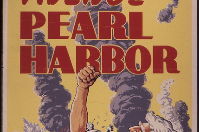 One of many posters produced by the War Department during World War II, designed to get the public behind the war effort.