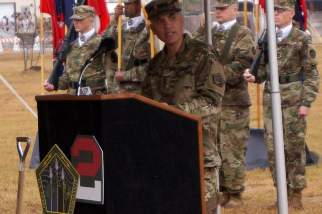 Lt. Gen. Paul M. Nakasone, commander of U.S. Army Cyber Command and Second Army, speaks about the value of the Army and DOD's investment in cyberspace capabilities and operations, during the groundbreaking ceremony marking the start of construction on the Army Cyber Command Complex at Fort Gordon, Ga., Nov. 29, 2016.