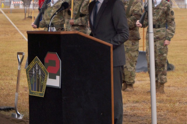 Secretary of the Army Eric K. Fanning speaks about the vital contribution of cyberspace operations to Army readiness during the groundbreaking ceremony marking the start of construction on the Army Cyber Command Complex at Fort Gordon, Ga., Nov. 29, 2016.