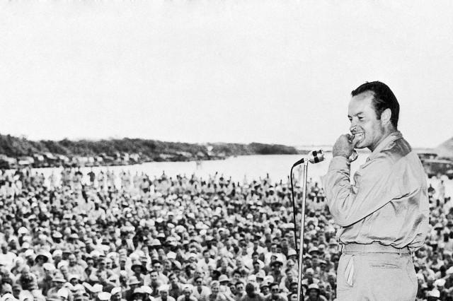 Bob Hope performs for service members at Munda Airstrip in the Solomon Islands in October 1944.