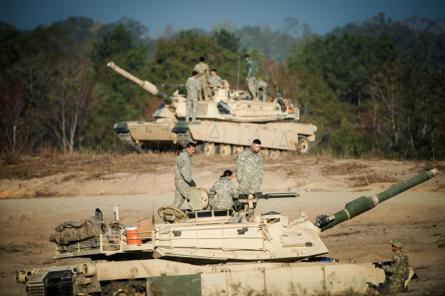 Students from the Infantry and Armor Basic Leader courses train for their future careers and develop realistic tactical skills during a combined competitive maneuver exercise at Good Hope Training Area, Fort Benning, Ga., Nov. 16, 2016. Students are tasked with the objective of defending or seizing an installation. The first 13 women Armor officers graduated, Dec. 1, from the Armor Basic Officer Leader Course at Fort Benning.