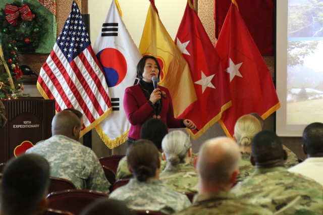 Mrs. Sung-kyun Choi, a former North Korean Army officer, gives the 19th Expeditionary Sustainment Command Senior Leaders a class about her experience and situations in North Korea at Camp Walker.