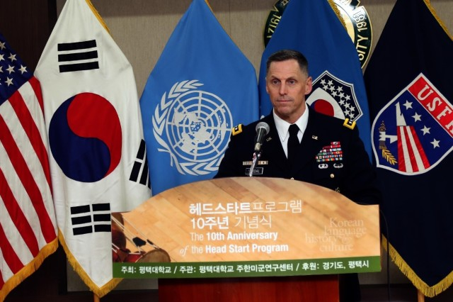 Eighth Army Commanding General Lt. Gen. Thomas S. Vandal delivers a congratulatory address during the 10th anniversary of the Korean Head-Start Program at Pyeongtaek University, South Korea, Nov. 29, 2016. The Korean Head-Start Program started in 2006 for United States Forces Korea newcomers to strengthen the ROK-U.S. alliance by introducing them to a variety of elements which include Korean culture, history, traditional etiquette and basic Korean language.