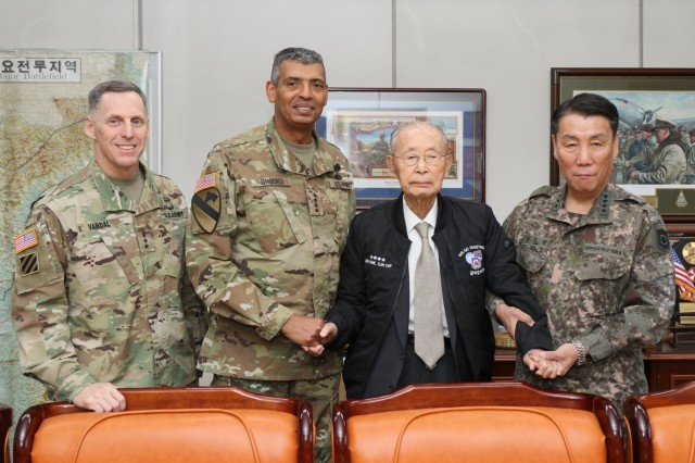 Senior leaders of the ROK-U.S. Combined Forces Command pose for a picture with Gen. Paik Sun-yup during Paik's 96th birthday celebration at the War Memorial in Seoul, South Korea, Nov. 23. Paik served on the front lines of national defense during the Korean War and became the first four-star general in Korean military history.
