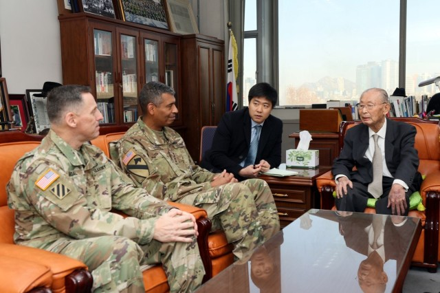 Gen. Paik Sun-yup speaks to leaders of ROK-U.S. Combined Forces Command during his 96th birthday celebration at the War Memorial in Seoul, South Korea, Nov. 23. Paik served on the front lines of national defense during the Korean War and became the first four-star general in Korean military history.