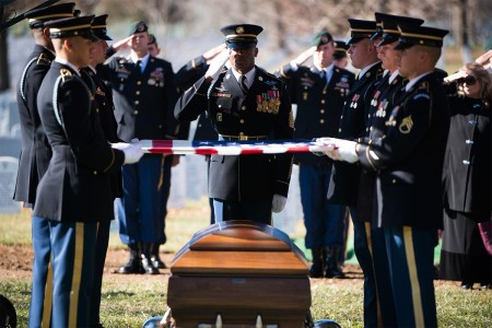 Members of the 3rd U.S. Infantry Regiment (The Old Guard) and Special Forces Soldiers participate in the graveside service for Staff Sgt. James F. Moriarty in Section 60 of Arlington National Cemetery, Dec. 5, 2016, in Arlington, Va. Moriarty was one of three Special Forces Soldiers from the 5th Special Forces Group (Airborne) who were killed in Jordan, Nov. 4.