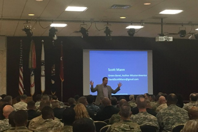 "Scott Mann, ""Mission America"" author, speaks to Soldiers at the Nov. 17-18, 2016 American Dream U Career Development Seminar at Joint Base Lewis-McChord."