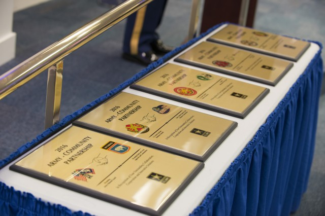 Plaques for the top five partnerships are ready to be presented during the inaugural Army Community Partnership Recognition Ceremony at the Pentagon in Washington, D.C., Dec. 6, 2016.