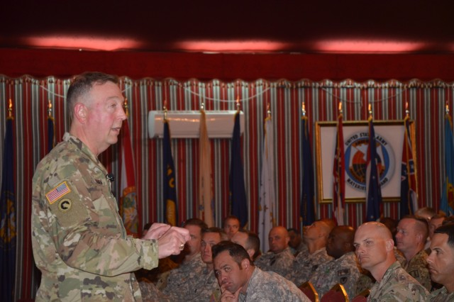 Maj. Gen Stephen Farmen, commanding general of the U.S. Army Security Assistance Command, addresses OPM-SANG and MIO-MAG personnel at Eskan Village's Desert Rose Dec. 7 during the last town hall of 2016.  Farmen discussed USASAC's strategic framework and contribution to Army Readiness, and OPM-SANG and MOI-MAG's support to their customers.