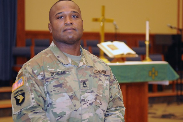 Sgt. 1st Class Jeff Duncan, Fort Leonard Wood senior chaplain's assistant, doesn't have the appearance or the attitude of an aggressive Soldier. His bright smile and playful laugh portray a kind-hearted attitude. But there is another side to the Nashville, Tennessee, native.
