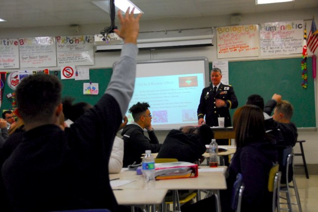 Lt. Col. Jeff Nelson, an expert on nuclear weapons and emergency management from the 20th Chemical, Biological, Radiological, Nuclear, Explosives Command, shares stories from his career with students at Joppatowne High School's Homeland Security and Emergency Preparedness program.