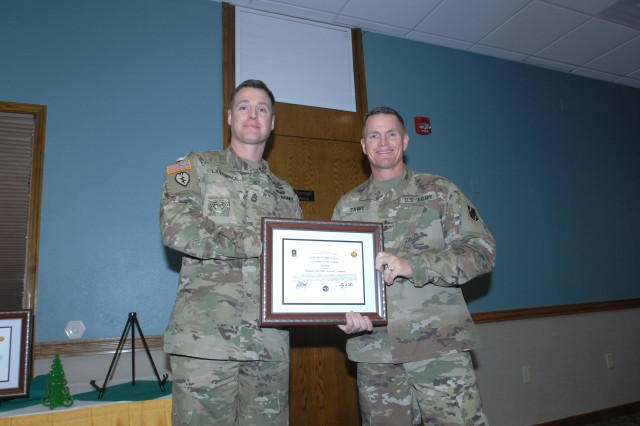 Sgt. 1st Class Leonard Lawrence, Company B, 1st Battalion, 48th Infantry, was honored for contributing more than 65 volunteer hours at the Missouri Civil Air Patrol and the Company B, 1st Battalion, 48th Infantry Family Readiness Group.