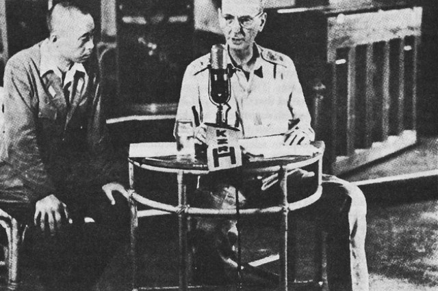 Lt. Gen. Jonathan Wainwright broadcasts surrender instructions to American forces in the Philippines, May 7, 1942, five months after the initial Japanese attacks. Americans had fought for months without food, adequate ammunition or reinforcements, and the situation was hopeless. Wainwright had grown increasingly worried about the carnage that would result if the Japanese fired a tank into tunnels the Americans used as hospitals on the island of Corregidor, and finally agreed to surrender, fully expecting to be court-martialed after the war. He wasn't, but like thousands of troops, he endured brutal years in captivity.