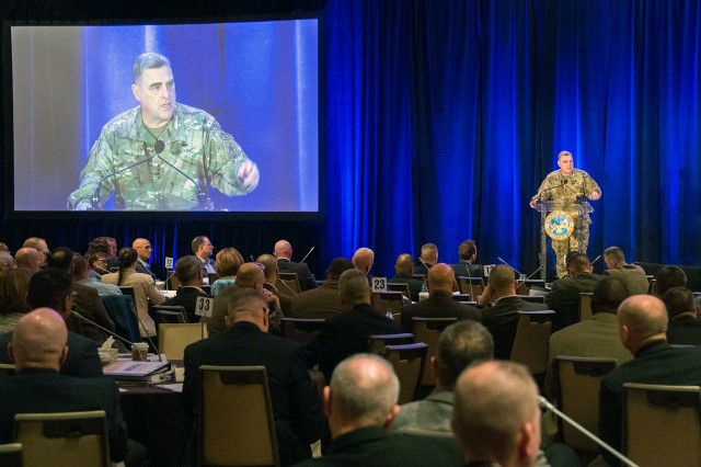 U.S. Army Chief of Staff, Gen. Mark A. Milley, gives opening remarks at the Army Professionl Forum, Sexual Harassment / Assault Response and Prevention (SHARP) conference,Tysons Corner, Va., December 8, 2016.