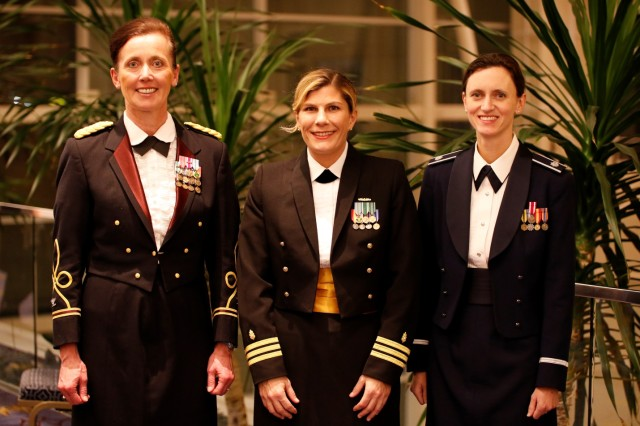 The Military Health System honored its top healthcare providers during an awards ceremony Dec. 1, at AMSUS Federal Health 2016 in Washington, DC. The recipients of the 2016 MHS Female Physician Leadership Awards are (left to right): Physician Senior (MHS) Army Col. Irene Rosen, Evans Army Community Hospital, Fort Carson, Colorado; Physician Junior (Navy) Cmdr. Shauna O' Sullivan, Naval Medical Center Portsmouth, Virginia; and Physician Junior (Air Force) Lt. Col. Heather Yun, Uniformed Services Health Education Consortium, San Antonio. Not pictured are Physician Junior (Army) Lt. Col. Nicole Powell-Dunford, U.S. Medical Corps Exchange Officer Program, serving in the United Kingdom; and Physician Junior (PHS/USCG) Lt. Cmdr. Maria DeArman, Coast Guard Aviation Medicine Office, Corpus Christi, Texas. (DoD Photograph by John Davis, U.S. Army/Released)