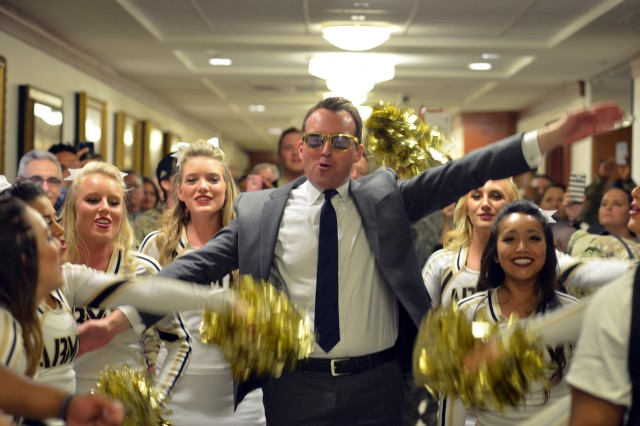 Secretary of the Army Eric Fanning emerged from his office to give his support to the Army, Dec. 9, 2016, for the Army-Navy Game.